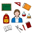 School teacher and education icons vector image vector image