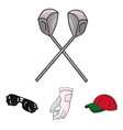 a glove for playing golf with a ball a red cap vector image