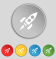 Rocket icon sign Symbol on five flat buttons vector image