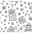 seamless pattern set new year symbol on white vector image
