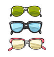 three pairs of sun glasses different spectacles vector image