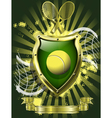 tennis ball on background of the shield vector image vector image