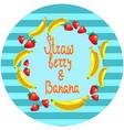 strawberry and banana dessert round vector image