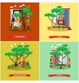 set of kindergarten kids posters in flat vector image