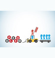 red businessman lead blue businessmen and tractor vector image