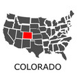 state of colorado on map of usa vector image