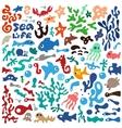 sea animals - doodles set vector image