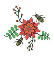 bees flying over some flowers branch leaves vector image
