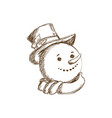 engraved face snowman christmas character vector image