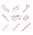 Hand-drawn Office equipment icons vector image