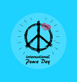 international peace day emblem with hippie symbol vector image