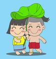Lotus Leaf Boy and Girl vector image