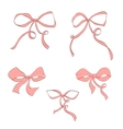 Set of hand drawn pink bow vector image