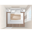 top view bedroom with beige walls vector image