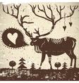 Wild animal grungy background Deer vector image