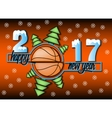 happy new year and basketball vector image