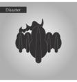 black and white style icon fire in the forest vector image