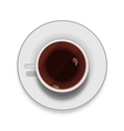 Realistic white cup of coffee with saucer vector image