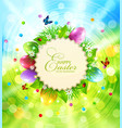 easter background with a round card for text vector image