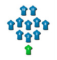 football formation in blue design vector image