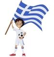 Happy soccer fan holds Greece flag vector image
