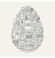 Happy Easter Line Icons Set Egg Shape vector image