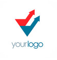 arrow up triangle color business logo vector image