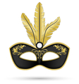 Black mask with golden feathers vector image