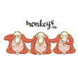 cartoon Three monkeys - see hear speak no evil vector image