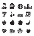 casino slot machine gambling icons set vector image
