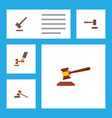 Flat icon court set of legal court tribunal and vector image