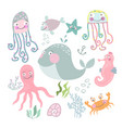 sea life set vector image