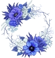Vintage floral wreath in blue colors vector image