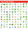 100 flora icons set isometric 3d style vector image