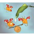 Ladybirds and dew Cartoon vector image