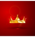 a golden metallic foil royal crown on the vector image