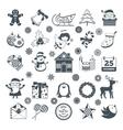 Black Christmas Characters Set vector image