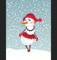 Christmas snowman girl vector image