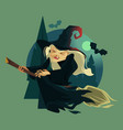 happy smiling evil old witch mascot character vector image