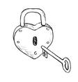 Heart Lock Hand Drawn vector image