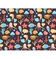 Sea cartoon pattern Funny sea creatures vector image