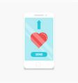 smartphone send love vector image