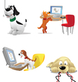 dogs computers vector image