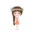 colorful caricature skinny woman in clothes with vector image