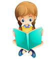A young girl reading a book seriously vector image vector image