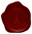 Eiffel tower wax seal vector image