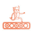 Red silhouette image cartoon business man riding vector image