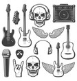 vintage rock music elements set vector image