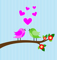 bird colorful in love on tree branch vector image