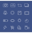 Photography white icons vector image vector image